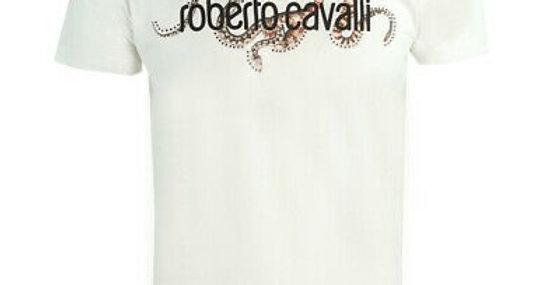 ROBERTO CAVALLI  BRAND LOGO WHITE T-SHIRT