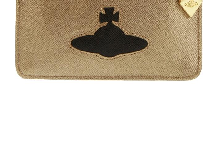 VIVIENNE WESTWOOD GOLD CARD HOLDER WITH BLACK ORB