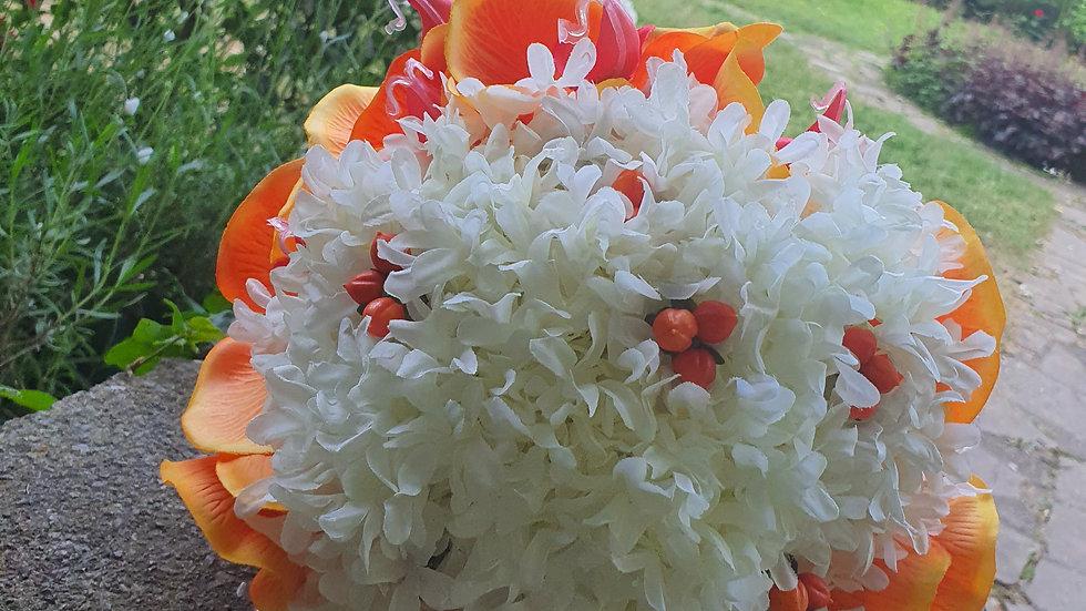 Stephanotis, hypericum berries and orchid orange bouquet