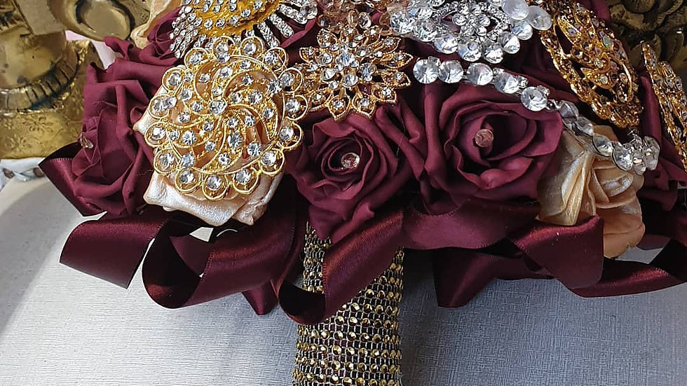 Burgundy and gold brooch bride bouquet