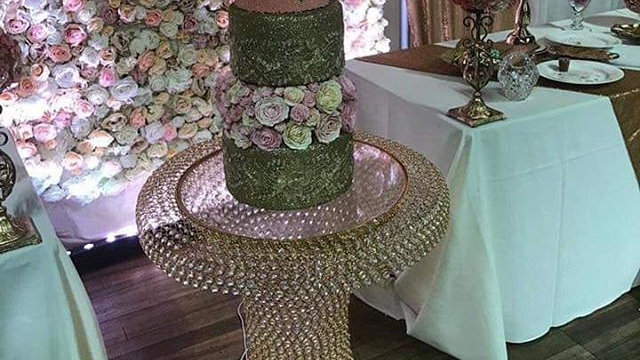 Crystal beaded gold Cake table available for hire