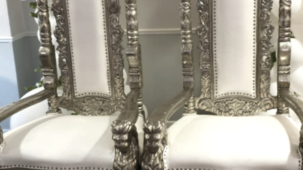 Silver lion throne chair pair available for hire, wedding chairs, His and