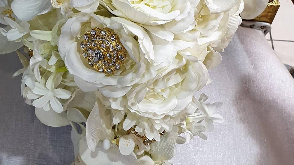 Bride teardrop bouquet, orchids bouquet, brooch bouquet