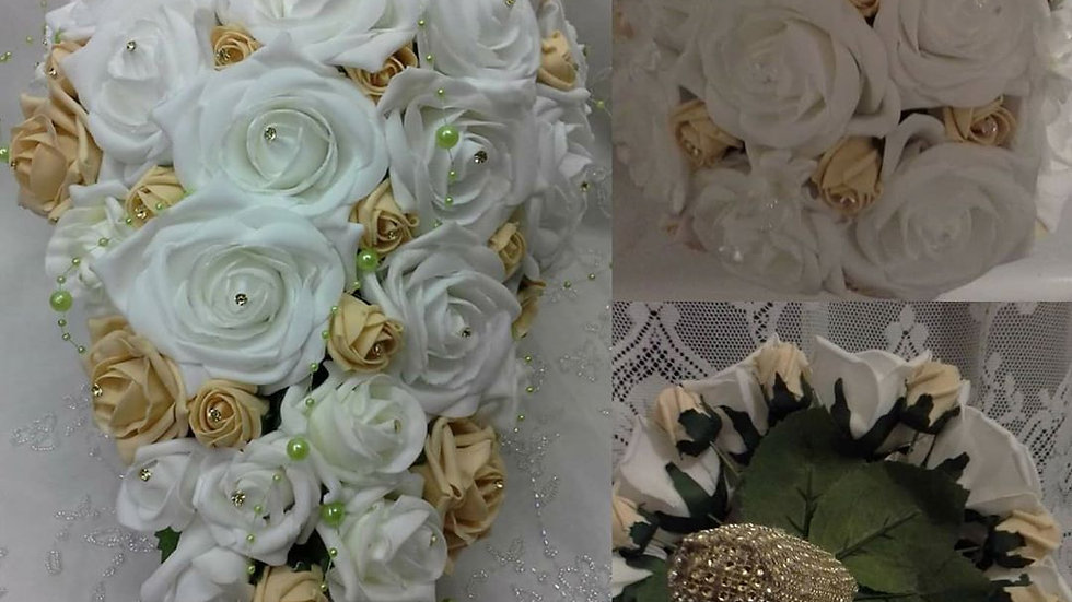 Gold and ivory bridal flowers package, bridal teardrop bouquet