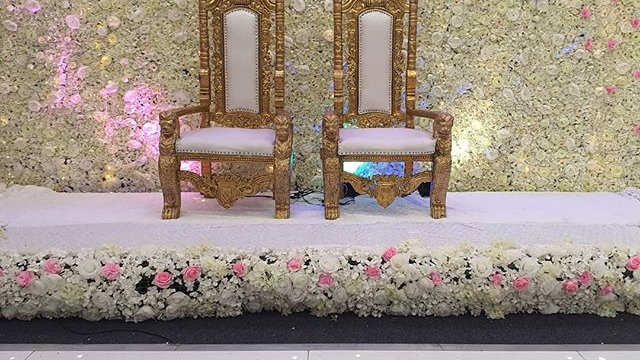 Gold lion throne chair pair available for hire, wedding chairs, His and hers