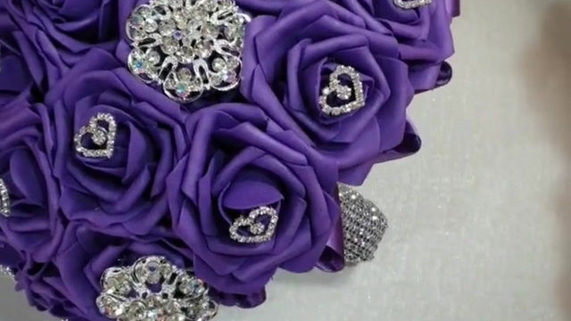 Bride purple brooch bouquet made to order