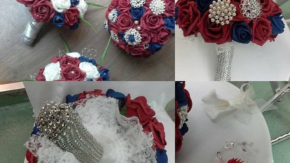 Dark Red bridal flower package, Dark Red bride posy brooch bouquet