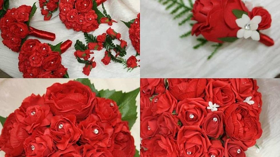 Red bridal flowers package, Red bride teardrop bouquet