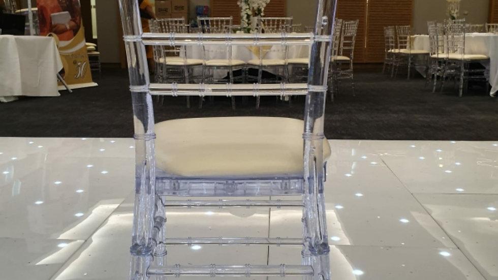 Ghost chair hire, clear Tiffany chairs,clear chiavari chairs