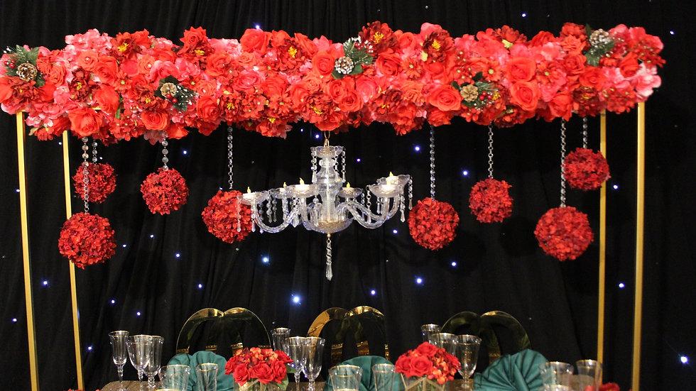 Floral bridge centrepiece, bridge centrepiece for hire
