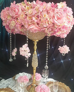 Gold and pink centrepieces available for