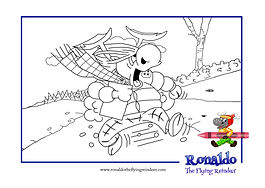 Black and white outline picture of Wing Commander Blitsen chasing after Rudi in the book for children Ronaldo: The Reindeer Flying Academy