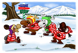 Colour drawing from Ronaldo: Reindeer Flying Academy children's book