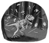 Drawing from children's book Ronaldo: Rudi's Birthday Extravaganza. Tyrannosaurus Rex chasing Ronaldo