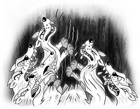 A pack of hungry wolves from the children's storybook The Phantom Carrot Snatcher