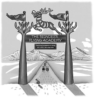 The entrance to The Reindeer Flying Academy in the childrens books Ronaldo the Flying Reindeer
