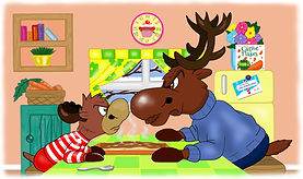 Ronaldo and his Dad taken from Ronaldo: The Reindeer Flying Academy kids book