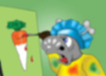 Rudi (The Phantom Carrot Snatcher) Painting a carrot, from the kids book Ronaldo the Flying Reindeer