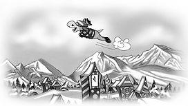 Ronaldo flying over Beresford in the kids book Ronaldo; The Phantom Carrot Snatcher