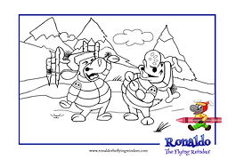 Black and white outline picture of Ronnie looking like a christmas tree. Taken from the book for kids The Reindeer Flying Academy
