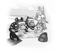 Ronaldo: The Phantom Carrot Snatcher drawing of Ronny and friends making a plan using a map