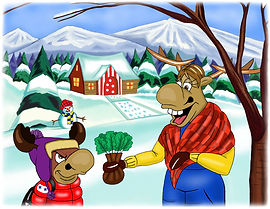 Colour illustration of Ronaldo and his Mum from Ronaldo: The Reindeer Flying Academy (colour edition)