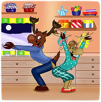 Ronaldo's Mum and Dad dancing, from Ronaldo: The Reindeer Flying Academy kids story book colour edtion