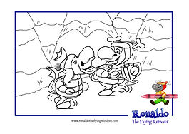 Black and white outline picture of Rudi trying to go home with Ronnie's trophy, from the kids book Ronlado: The Reindeer Flying Academy for kids to colour