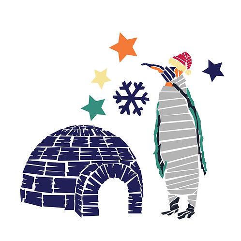 Sticker - Collection Noël - L'igloo et le pingouin