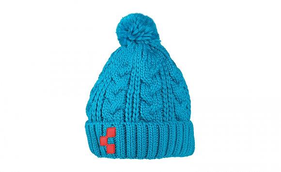 Bonnet laine bleu cube