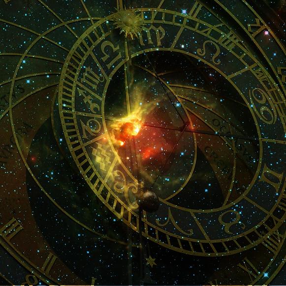 Mostly starry sky and zodiac