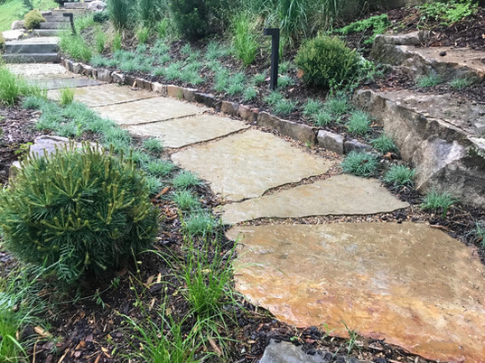 Grass, Boulders, and Walkway