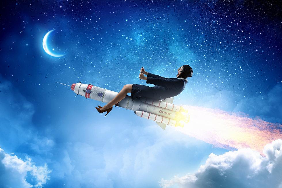 Woman on space rocket . Mixed media.jpg