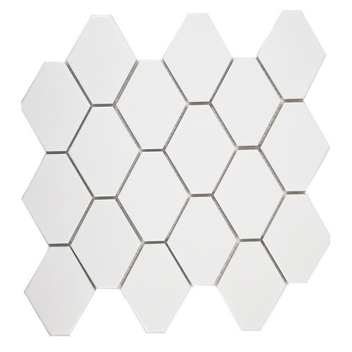 Elongated Hex Matte White