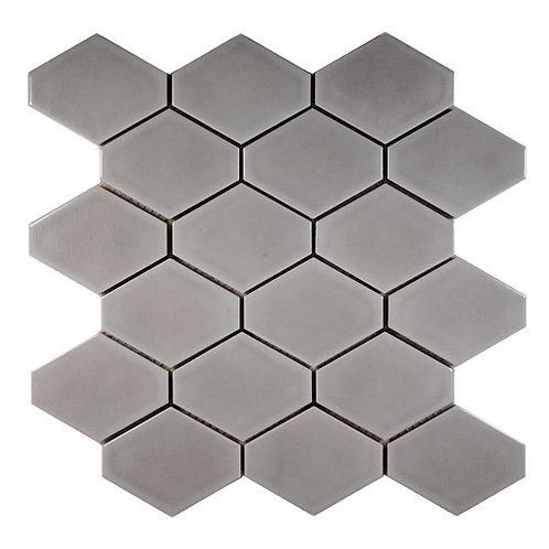 Elongated Hex Crackle Grey