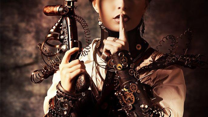 Steampunk Shhh! photo print A2