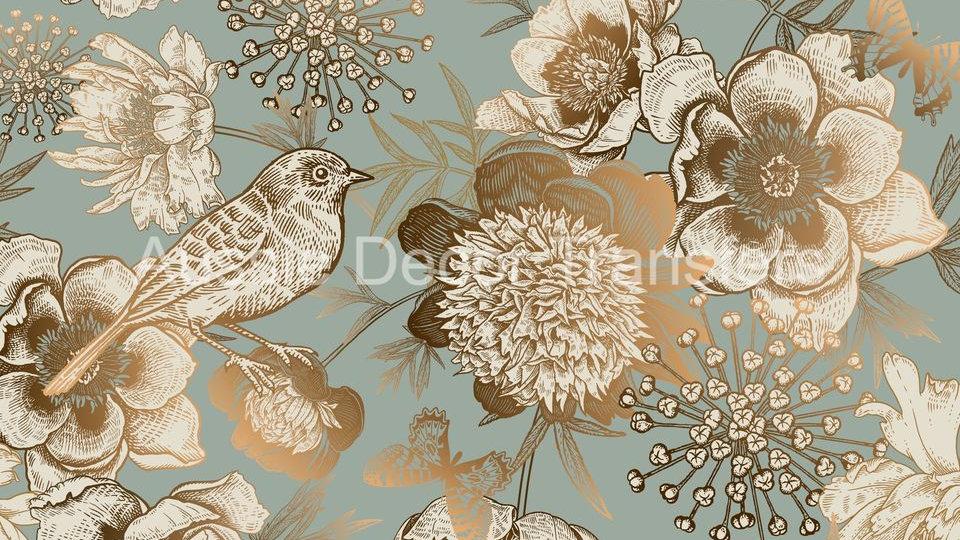 Gold Bird On Duck Egg Blue decoupage poster A3