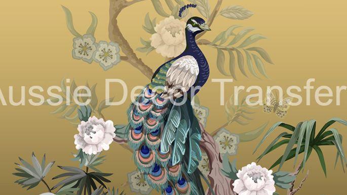 Peacock & Pheasants decoupage poster A1