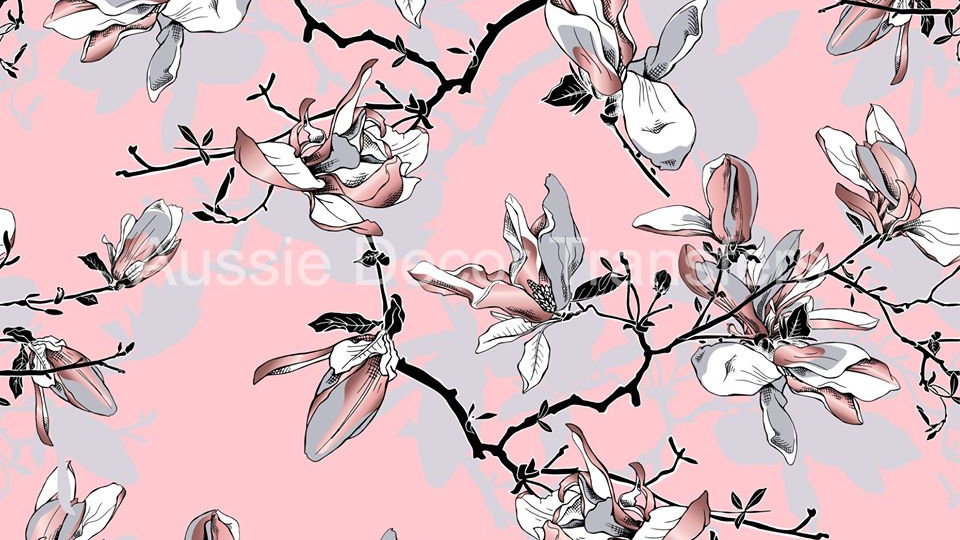 Pink & Grey Magnolias decoupage poster A2