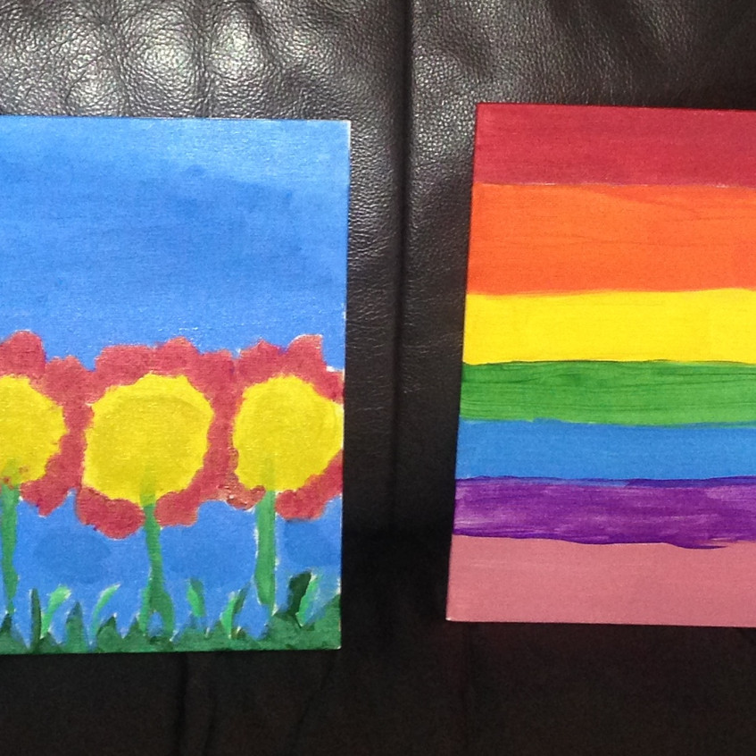 Rainbow and Spring Flowers