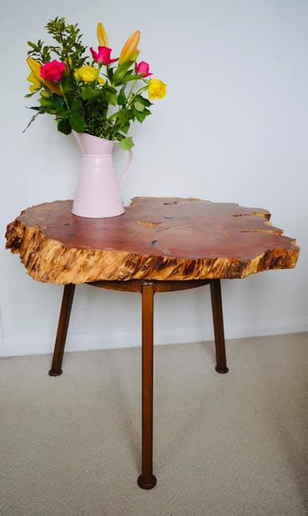 Turned Yew natural edge table