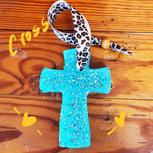 Genuine Leather Cross w/ Cheetah Ribbon