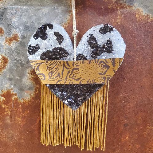 Cow Print Heart w/ Fringe