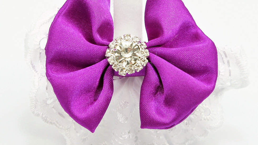 Elegant Lacy Purple Bowtie