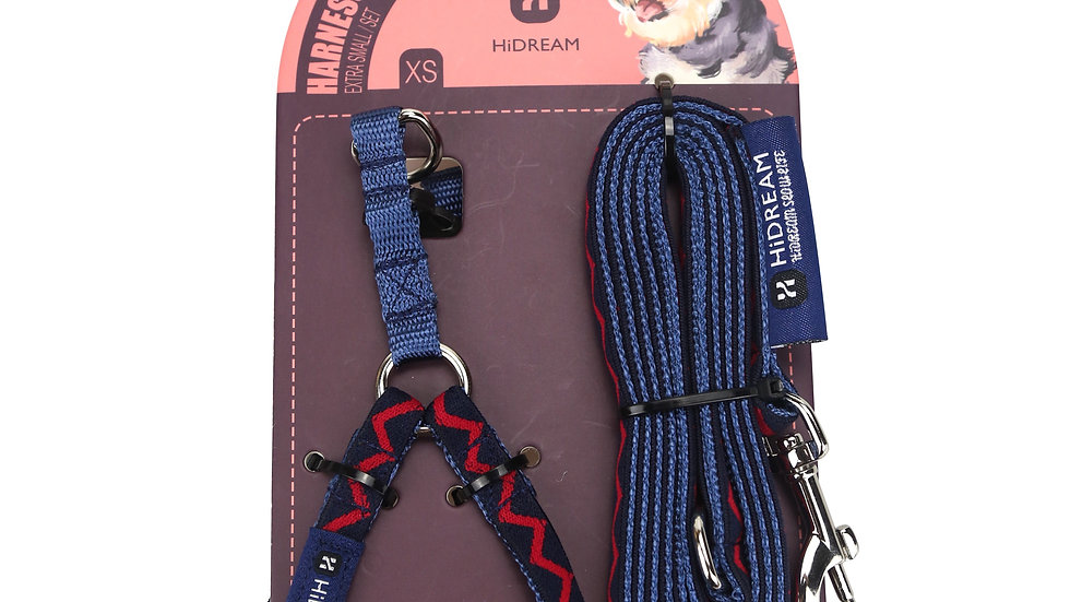 Rainbow Mini Set (Harness & Leash) - Navy blue