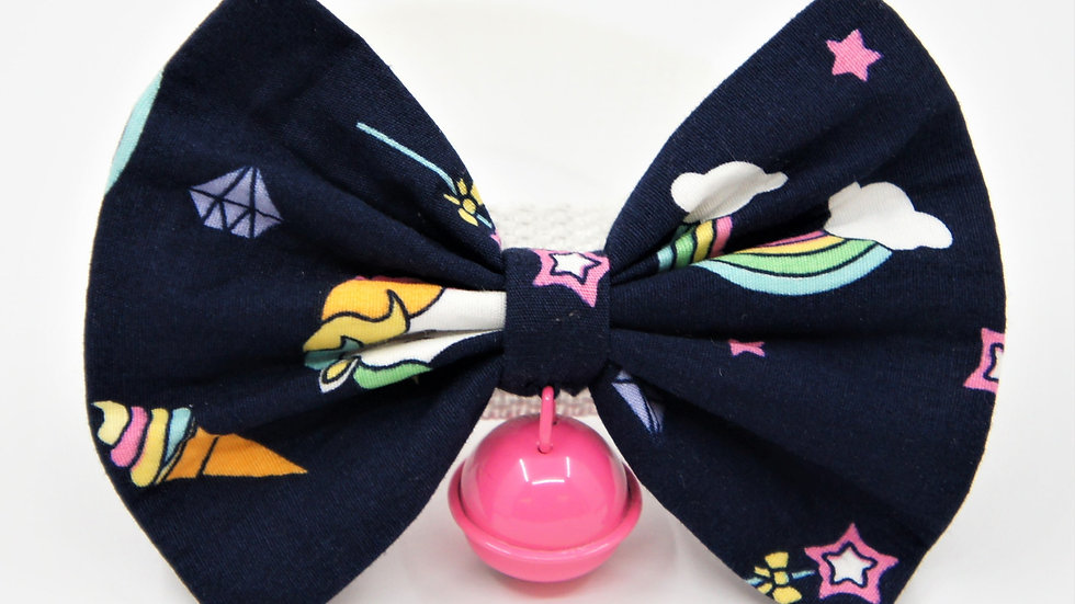 Navy Unicorn with Pink Bell Bowtie