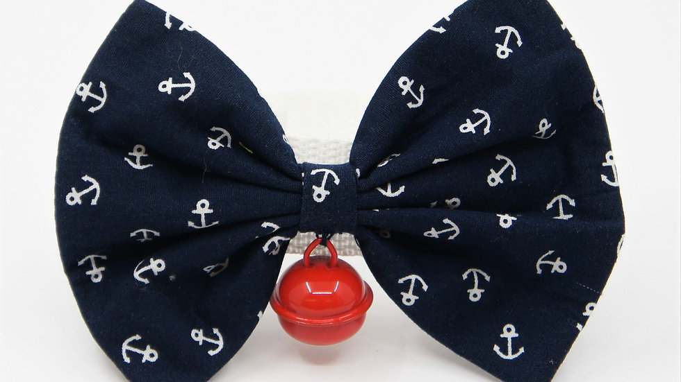 Navy Anchor with Red Bell Bowtie