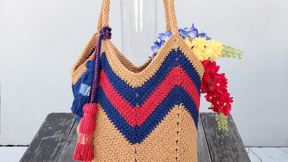 Blue Red Wave on Brown Handbag