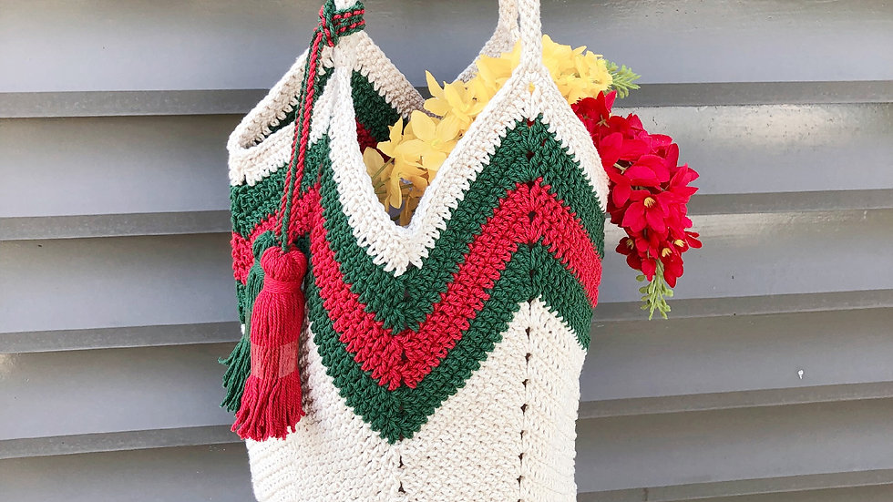 Green Red Wave Handbag