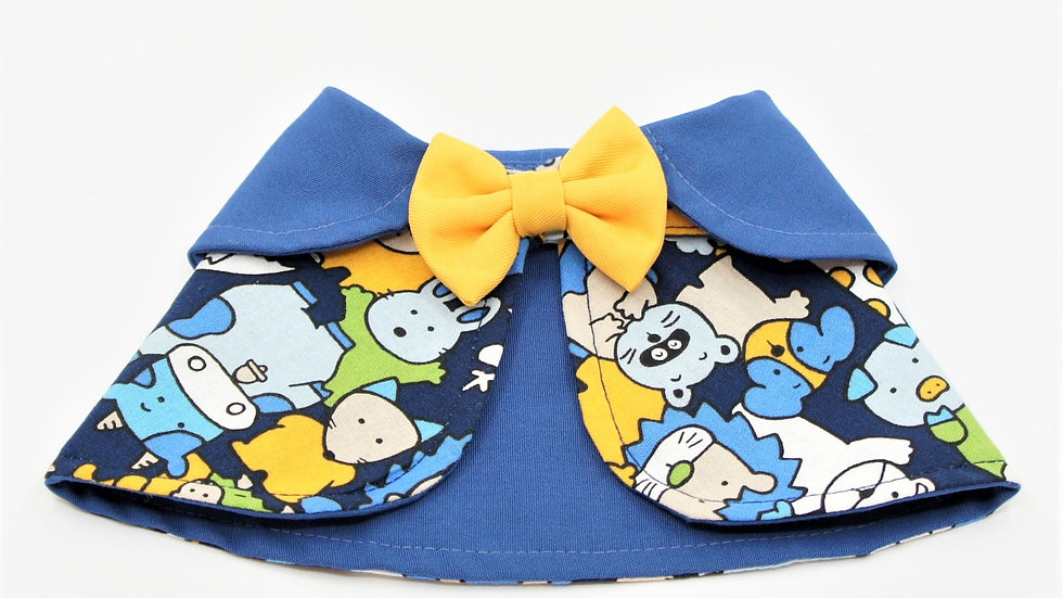 Blue Cartoon Yellow Bowtie Cape